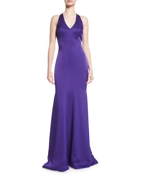 TheiaSleeveless Satin Contour Gown, Purple
