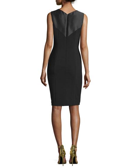 Sleeveless Beaded Cocktail Dress, Black/Gold
