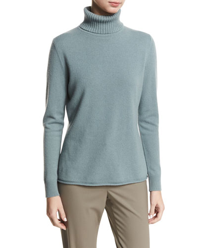 Long-Sleeve Cashmere Turtleneck w/ Drop-Needle Hem, Storm