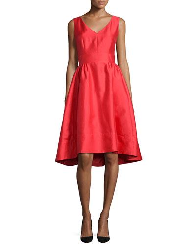 sleeveless satin high-low dress, red
