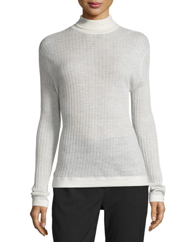 Ribbed Wool-Blend Turtleneck Top, Chalk