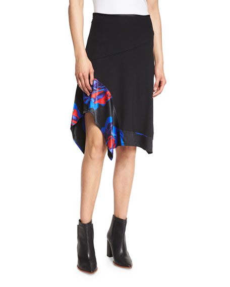 DKNY Full-Length Turtleneck Bodysuit & Floral-Trim A-Line Skirt