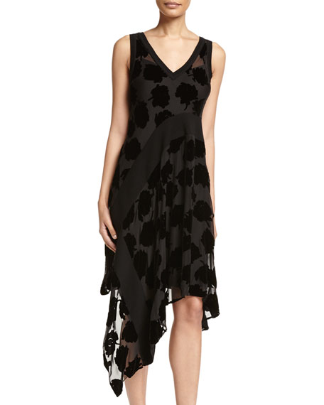 DKNY Sleeveless Velvet Leaf Midi Dress, Black