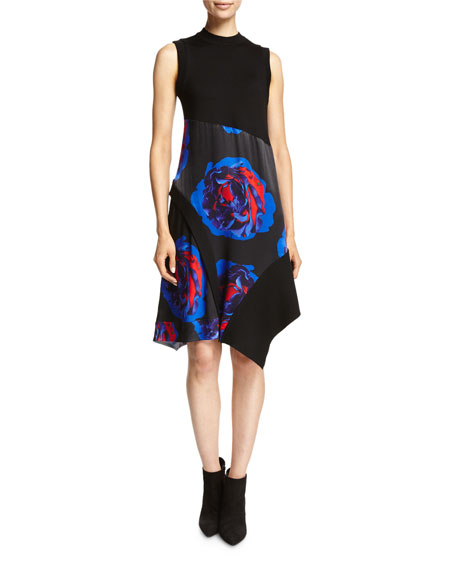 DKNY Sleeveless Mixed-Media Swing Dress, Black