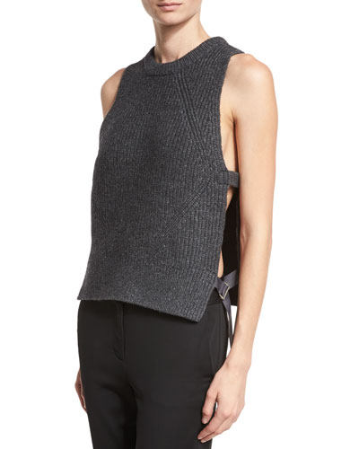 Sleeveless Ribbed Wool-Blend Shell, Charcoal Heather