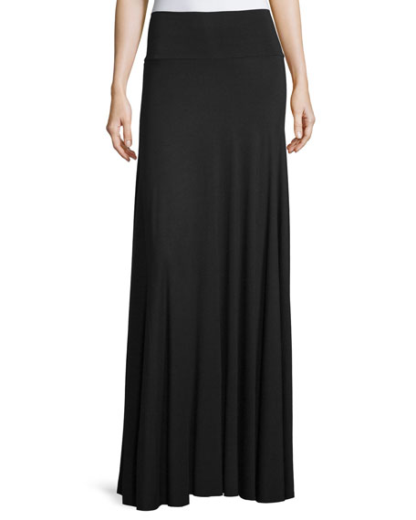 Long Full Stretch-Jersey Skirt, Black, Plus Size