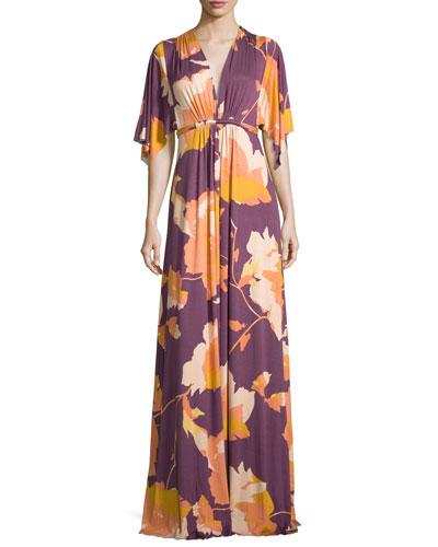 Floral-Print Long Caftan Maxi Dress, Desert Flower