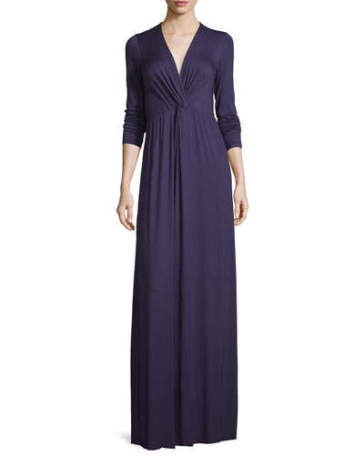 Rosemarie Twisted Long-Sleeve Maxi Dress, Nightfall, Plus Size