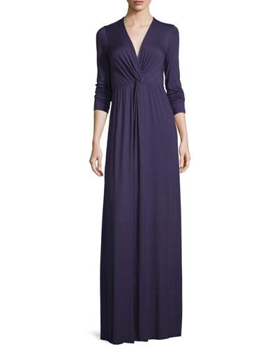 Rosemarie Twisted Long-Sleeve Maxi Dress, Nightfall
