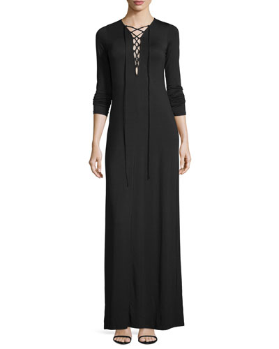 Jolene Long-Sleeve Lace-Up Maxi Dress, Black, Plus Size