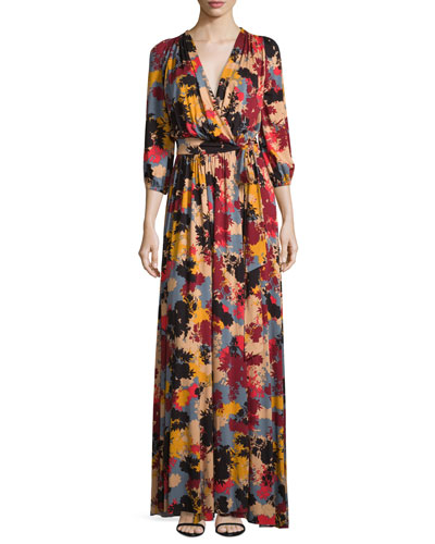 Ingrid Printed Tie-Waist Maxi Dress, Plus Size