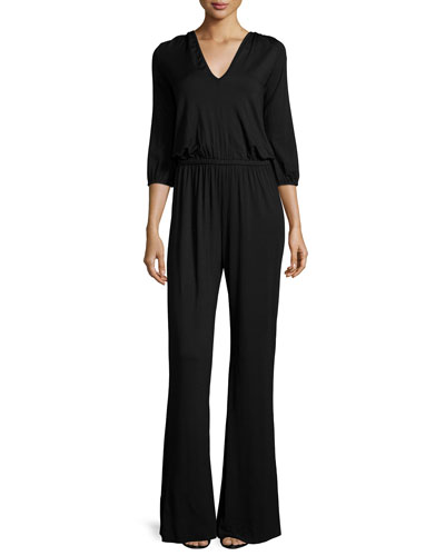 Clancy 3/4-Sleeve Wide-Leg Jumpsuit, Plus Size