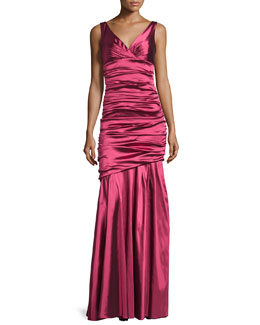 Sleeveless Ruched Mermaid Gown, Magenta
