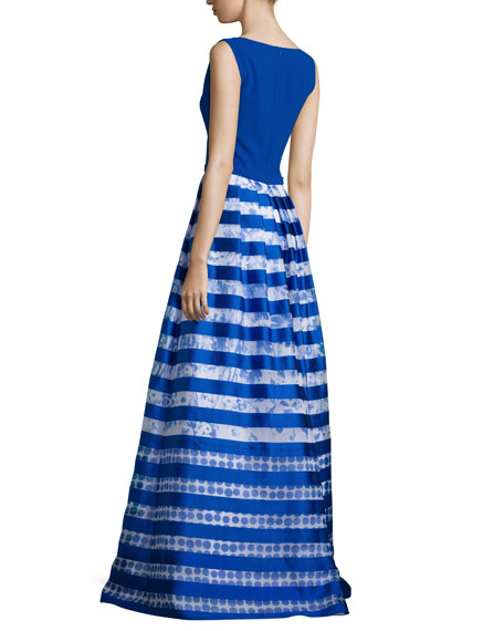 Sleeveless Striped-Skirt Ball Gown, Royal/White