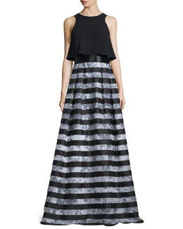 Sleeveless Popover Striped Gown