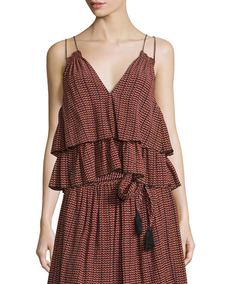 Sandro Ripple-Print Tiered Slip Top, Multi Colors