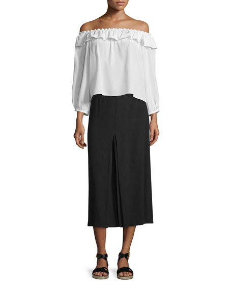 Obsidian Inverted-Pleat Midi Skirt