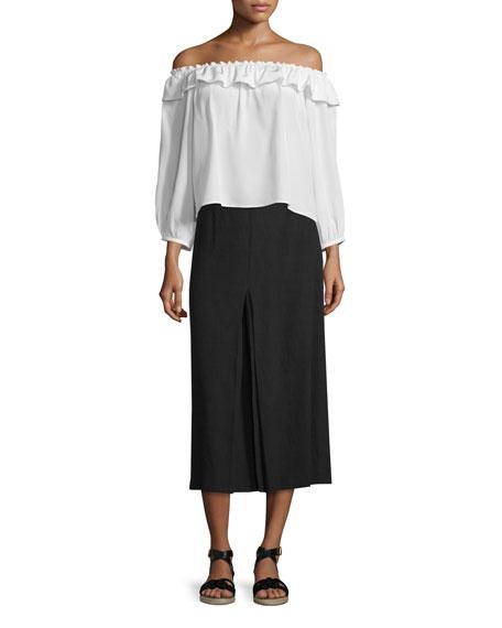 Obsidian Inverted-Pleat Midi Skirt