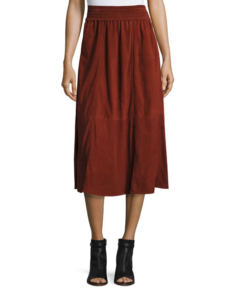 Mina Suede Midi Skirt, Red Rocks