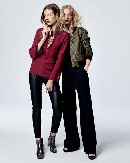 Sabrina Snap-Trim Leather Ankle Pants, Black