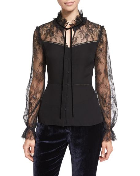 Elie Tahari Cecille Long-Sleeve Tie-Neck Silk Blouse, Black
