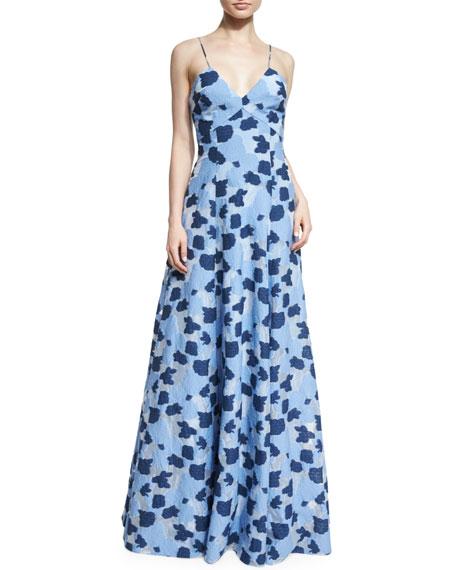 Badgley Mischka Sleeveless Floral-Print Ball Gown, Blue/White