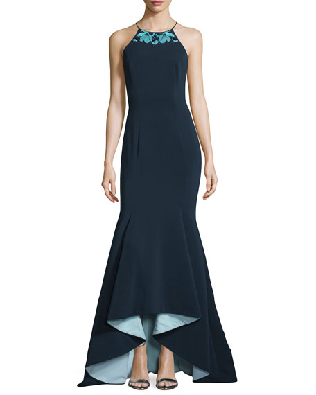 Embroidered Jewel-Neck High-Low Gown, Navy/Multi