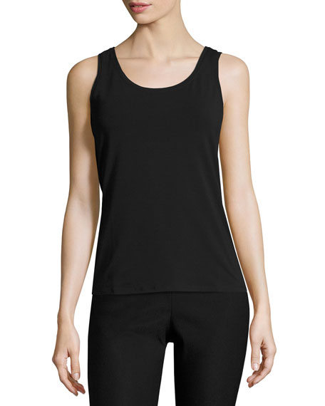 NIC+ZOE Perfect Jersey Scoop-Neck Tank, Black Onyx, Plus
