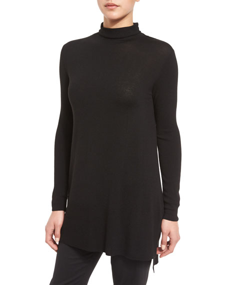 Lafayette 148 New York Long-Sleeve Rolled Funnel-Neck Tunic,