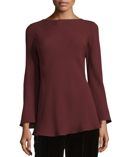 Lucca Long-Sleeve Silk Blouse