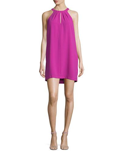 Tristyn Sleeveless Keyhole Dress, Magenta