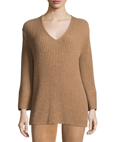 Long Ribbed V-Neck Sweater, Teak Multi