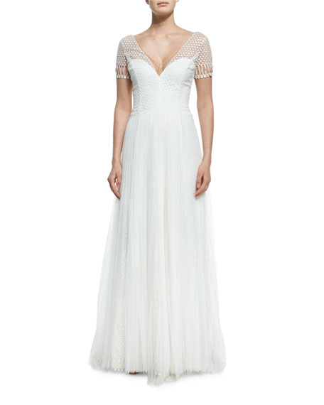 Marchesa Notte Short-Sleeve V-Neck Netting Gown, Ivory