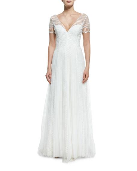Short-Sleeve V-Neck Netting Gown, Ivory