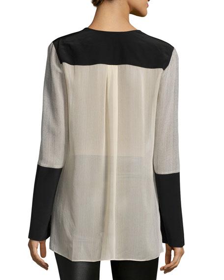Joe Long-Sleeve Colorblock Silk Blouse, Parfait Combo
