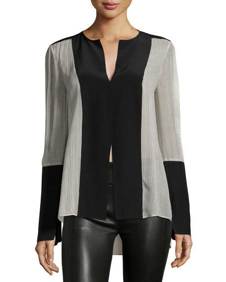 Joe Long-Sleeve Colorblock Silk Blouse, Parfait Combo