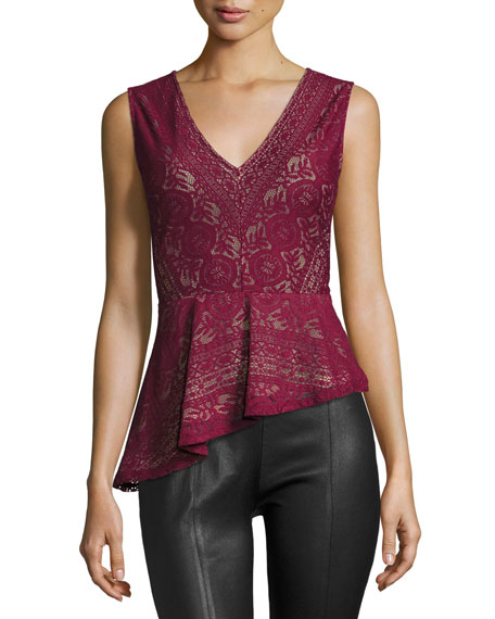 BCBGMAXAZRIA Avalon Lace Asymmetric-Peplum Top, Deep Cranberry