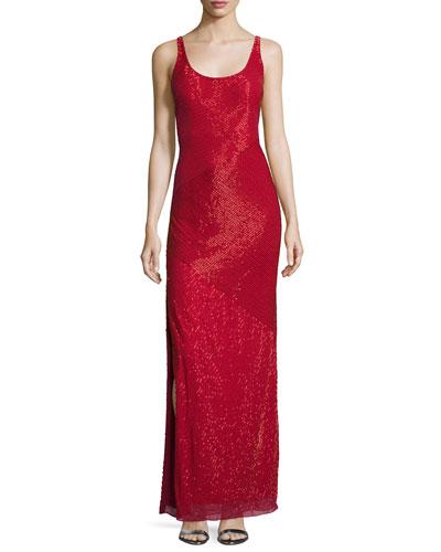 Sleeveless Diagonally Beaded Gown