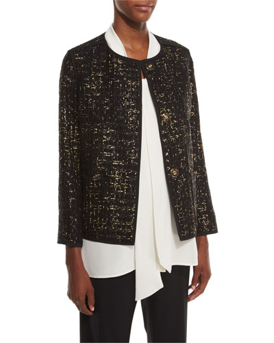 Holland Collarless Bracelet-Sleeve Tweed Jacket, Black Multi
