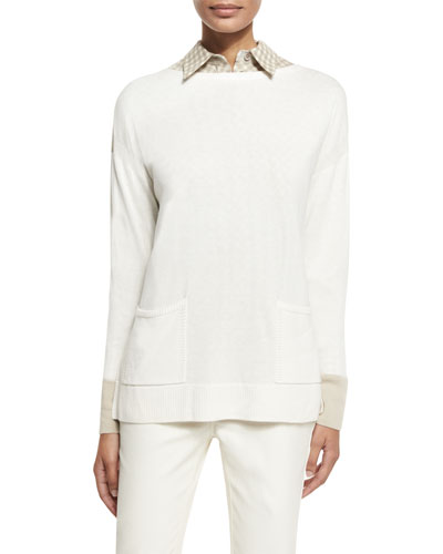 Bicolor Sweater w/ Side Slits, Cloud/Khaki