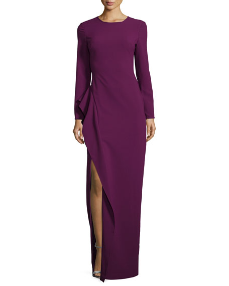 Black Halo Long-Sleeve Draped Stretch Crepe Gown, Jezebel