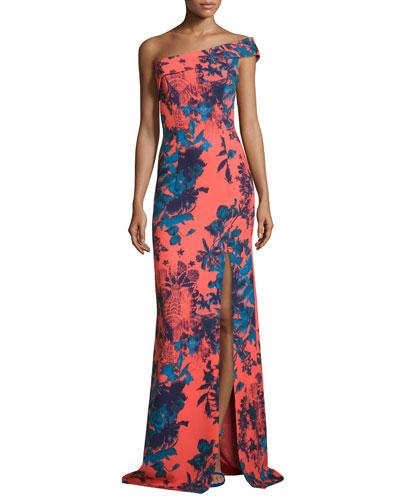 One-Shoulder Floral Ikat Ponte Gown