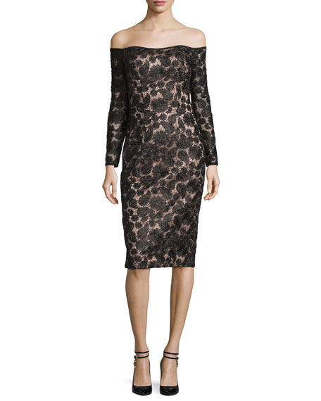 Black Halo Off-the-Shoulder Lace Cocktail Dress, Thrilling