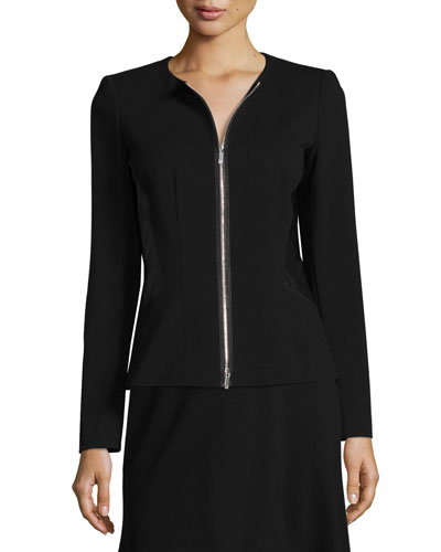 Fitted Jacket with Faux-Leather Trim, Black