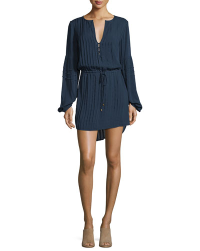 Paris Long-Sleeve Pleated Tunic Coverup