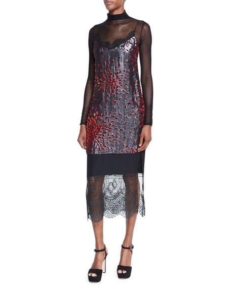 Maia Metallic Lace-Combo Camisole Dress, Rust