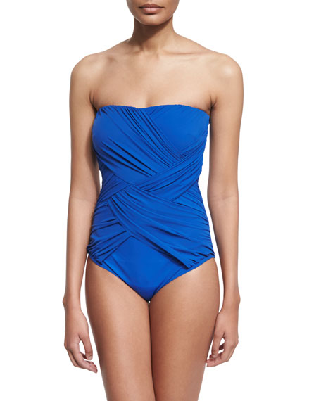 Gottex Lattice-Gathered Bandeau Swimsuit, Sapphire