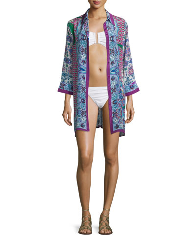 Le Jardin Printed Long-Sleeve Shirtdress Coverup