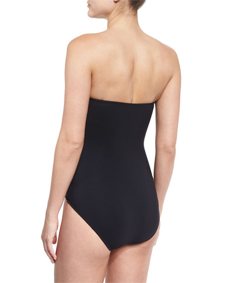 Origami Bandeau One-Piece Swimsuit, Black