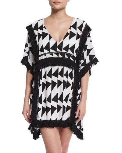 Geometric Fringe-Trim Bermuda Caftan, Black/White
